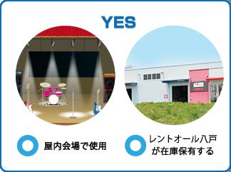 YES:屋内会場で使用/レントオール八戸が在庫保有する